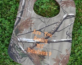 Camo Baby Boy Bib Camouflage Real Tree with Orange Letters READY TO SHIP