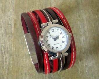 Watch cuff leather red/Burgundy, Silver Dial, 30MM magnetic silver plated clasp.