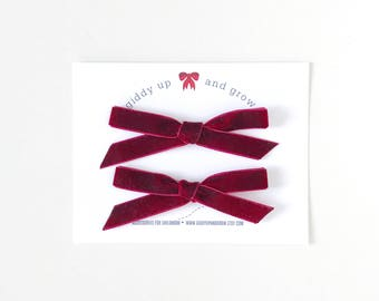Velvet Pigtail Bows, In the Color Scarlet, giddyupandgrow