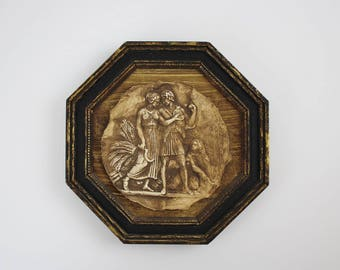 Vintage Chalkware Greek Revival Plaque in Wooden Octagon Picture Frame - Man Woman Child Wheat Sickle Art