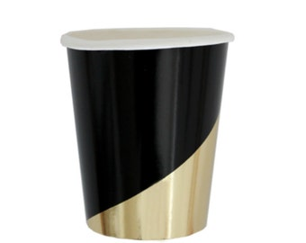 Black and Gold Cups,Party Supplies,Anniversary Party,Gold Party Cups,Black Party Cups,Black Party Goods,Black Paper Cups,Black Partyware