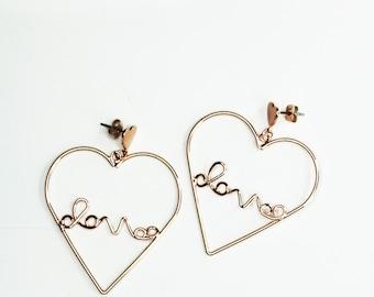 Heart Hoops , Love Earrings, Casual Earrings