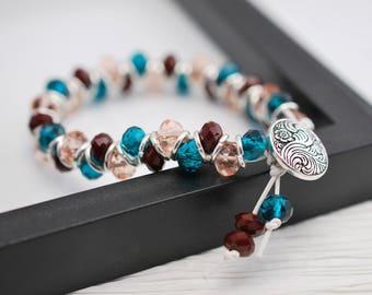 Beaded Goddess Bracelet, Teal Bracelet, Goddess Bracelet, Silver Bracelet, Beaded Bracelet, Leather Bracelet, Peach Bracelet, Wrap Bracelet