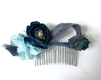 Steele Blue Flower Comb Fascinator