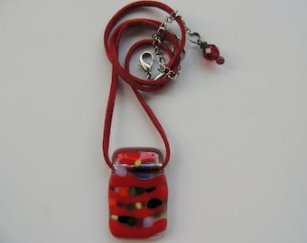 Fused glass necklace, rectangle red glass pendant necklace, , red and other colors fused necklace