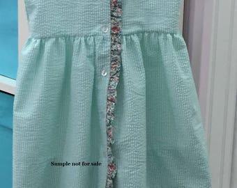 Childrens Corner Pattern / Ginger Pattern  /  Sundress Pattern / Girls's Dress Pattern /  Button Front / Ruffled Neckline / Ruffled Front
