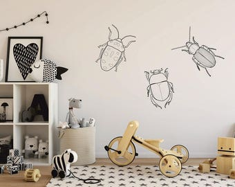 Beetle Wall Decal, Kids Wall Decal, Creepy Crawly Wall Stickers