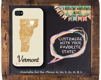 Vermont iPhone Case, Personalized State Love iPhone Case, Fits iPhone 4,  iPhone 5, iPhone 5s, iPhone 5c, iPhone 6, NOT REAL GLITTER