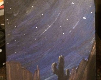 Starry Night Desert Painting, Sonoran Desert at Night