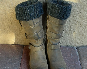 Boot Cuffs, Boot Toppers, Ankle Warmers reversible grey gray charcoal hand knit. Close the gap at the top of your boots.