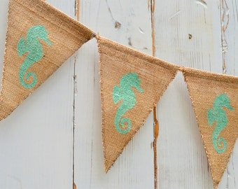 Seahorse Burlap Banner, Flag, Bunting, Pennant...Photo Prop...Home Decoration...Baby Shower, Children's Room, Beach themed
