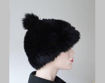 Black 60s Vintage Lamb Fur Hat With Pom Pom // Size 55