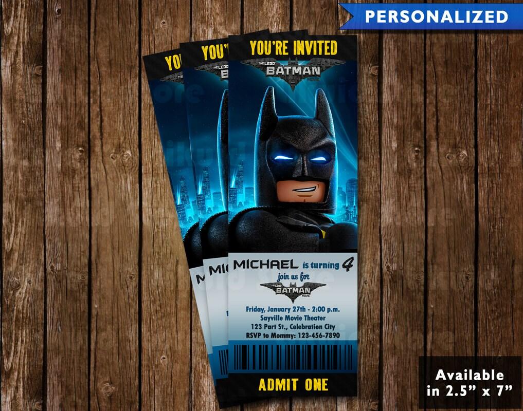 Lego Batman Birthday Invitation Ticket Lego Batman