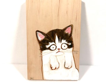 Cat Unsure About Everything Acrylic Painting on Wood