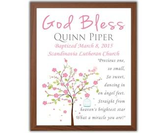 Pink Baptism Gift For Girl - Baptism Tree - Christening Gift - Gift From Godparents