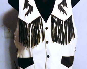 Leather Vest Western style with Fringe Sz L