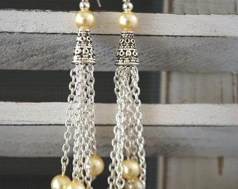 Glass Cream Pearl Dangle Chain Earrings Wedding dressy romantic
