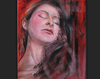 Modern drawing and mixed media ,portrait of a woman,red background