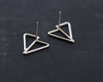 Sterling Silver Abstract Triangle Earrings - Studs