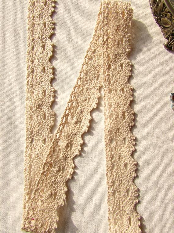 Cream cotton lace trim 28mm  Cream cotton border  Crochet cream lace  Vintage style beige lace trim sold by the yard. UK Seller