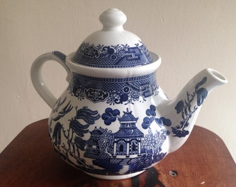 Churchill Classic Blue and White Teapot