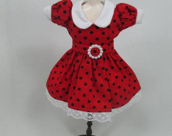 Blythe Outfit Handcrafted polka dots dress basaak doll # 12-42