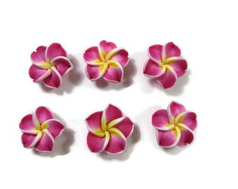 15 mm Polymer Clay Plumeria Flowers Set of 6 (SP10)