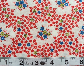 Everything But The Kitchen Sink RJR  Red Floral Toss 1930's Reproduction Fabric