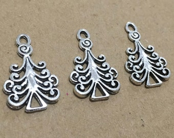 Christmas Tree Charms x 5 Silver Pendant Finding 23mm Scrapbooking Jewellery #115