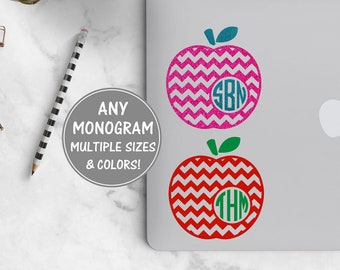 Apple Monogram Laptop Decal, Teacher Monogram Decal, Apple Teacher Decal Teacher Gift Personalized Teacher Gifts Teacher Decal for Macbook