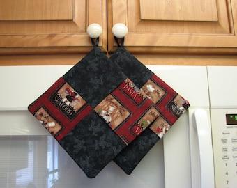 Chefs in the kitchen  – Handmade Pot Holder, Set of 2
