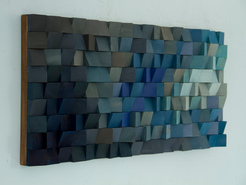 Wooden Wall Art For Sale Wood Wall Art Monochromatic Wood Art In Blues New 2017