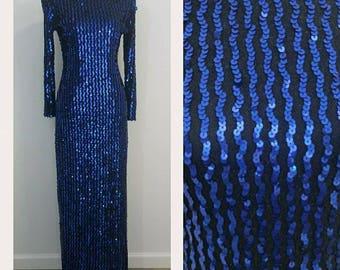 Blue Vintage Sequin Gown/ Long Sleeve/ Full length/ High Slit