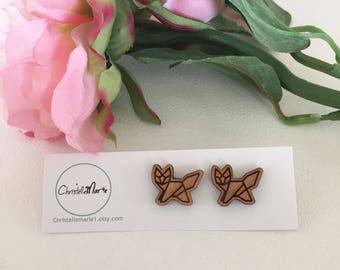 Wooden Geometric Fox Earrings