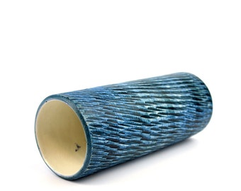 Vintage Maltese Bristow Pottery Blue Cylinder Vase with Textured Incised Patterning - FREE UK SHIPPING