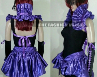 Complete set Purple Rain Maleficent bustle skirt and shoulder collar shrug wrap Cosplay dance costume Gothic fashion