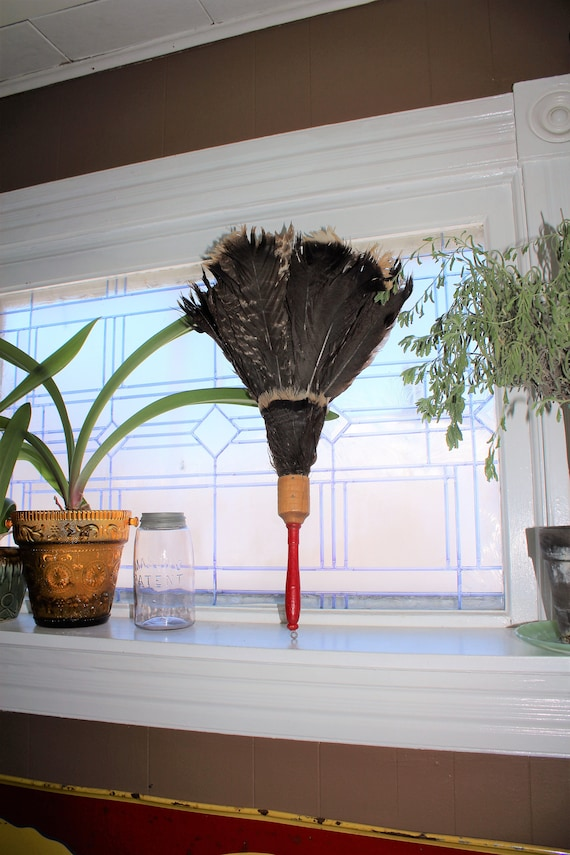 Antique Feather Duster with Red Wood Handle
