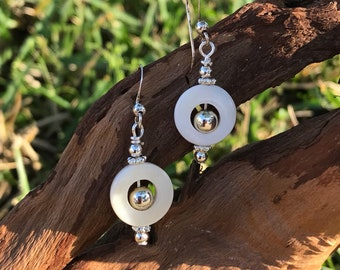 Mother of Pearl Cutout sterling silver hooks earrings / gifts for her / beaded
