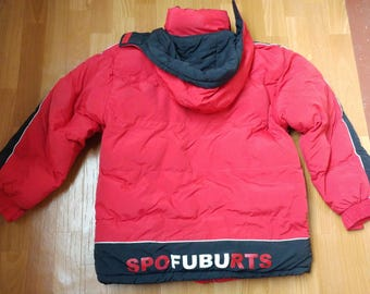 FUBU jacket, vintage Fubu windbreaker, 90s old school hip-hop clothing, 1990s hip-hop, gangsta rap, red color jersey, size M Medium