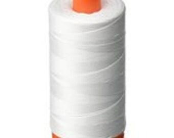 Aurifil Cotton Mako Thread 50 wt - WHITE - 1422 yd Orange Spool - #2024