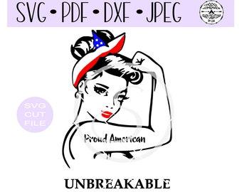 Proud American Unbreakable Woman SVG digital cut file for htv-vinyl-decal-diy-plotter-vinyl cutter-craft cutter- SVG - DXF & Jpeg formats.