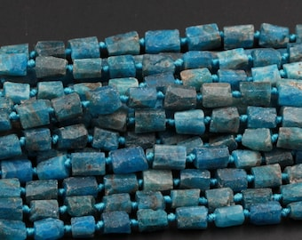 """Natural Blue Apatite Nugget Frosty Matte Beads Faceted Rectangle Tube Beads Natural Teal Blue Gemstone Full 16"""" Strand"""