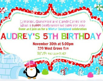 WINTER CANDYLAND invitation - red, green, blue, pink - YOU Print