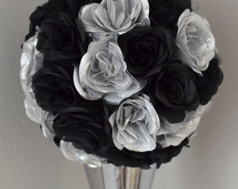 Black and Silver Kissing Ball. WEDDING CENTERPIECE. Gatsby Theme Decor. Silk pomander. Flower ball. New Years Decoration.