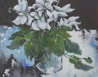 Leslie Gooday (1921-2013) Original Acrylic Painting Cyclamen Flowers Still Life