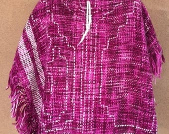 NEVER USED/Tag still on - Southwestern Purple and White Knit Poncho