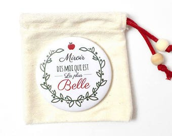 Pocket mirror and pouch ' tell me which is the most beautiful '