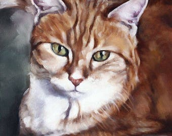 Custom Pet Portrait, Cat Portrait, Animal Art, Custom Paintings, Oil Painting, Cat Painting, 8x10