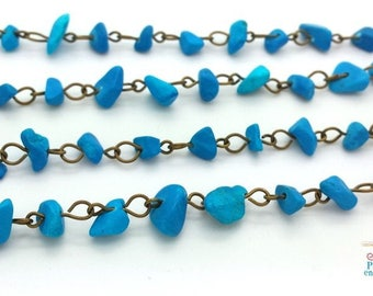 1 meter bronze chain and chips 4-8mm turquoise howlite (CH45)