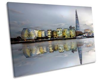 London City Skyline Box Framed CANVAS WALL ART Print Picture